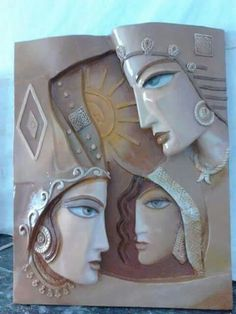 Clay Wall Art, Ceramic Wall Art, Clay Art Projects, Clay Crafts, Diy Clay, Anatomy Sculpture, Art N Craft, Craft Work, Indian Crafts