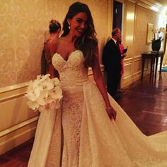 Wedding Dresses with Overskirts - 9 Ways to get Sophia Vergara's Wedding Day Look: We are obsessed with Sophia's custom-made @zuhairmurad wedding dress with glamorous overskirt  {Photo via @sophiavergara}