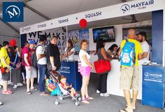 A busy crowd at the Mayfair Booth at the 2014 Rogers Cup. #myMayfair