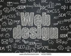 Web development concept: Chalk White text Web Design on School board background…