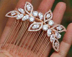 Bridal Comb Rose Gold Wedding Hair Comb Small Hair by LuluSplendor