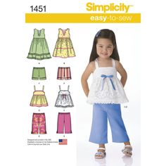 toddlers' easy to sew dresses, top, cropped pants and shorts make a complete   summer wardrobe for your toddler. dresses and top can be made with trims or ruffles. shorts and pants have elastic   waistband.