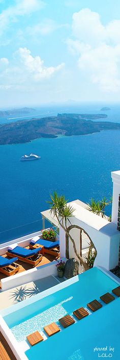 Santorini Deckside view of the Aegean Sea ~ Greece // Get more travel ideas and inspiration for Greece at http://www.holidaystoeurope.com.au/home/resources/destination-articles/greece