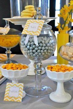 Bridal Shower Decor Package. Yellow & Gray Chevron Printable Bridal Shower Decorations.. $20.00, via Etsy.