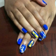 Barbados Flag Nail Design