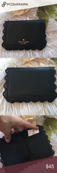"Kate Spade Wallet Brand new with tags Kate Spade Wallet. Spring time perfect!! Beautiful black color with ""lace like"" details around the edges. Interior has credit cards slots etc. kate spade Bags Wallets"