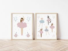 Ballerina, ballet wall art posters. Huge range of affordable + high quality wall art prints. Posters and printables for adult spaces, children's bedrooms, nursery and playrooms. Personalised initials. Typography and inspirational quotes to suit any decor or interior style. Soft pink toddler girls bedroom with wooden star wall hooks. Kids Prints, Wall Art Prints, Girls Bedroom, Bedrooms, Wooden Stars, Personalised Prints, Kids Poster, Star Wall, Playrooms