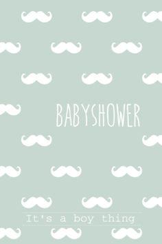 lovz.nl   babyshower uitnodigingskaart   snor patroon   zelf maken