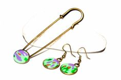 Polymer clay earrings and pin