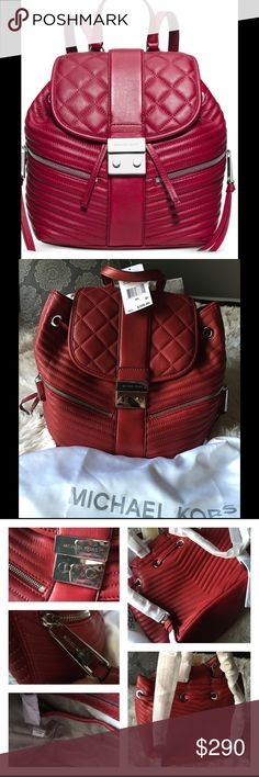 "NWT Michael Kors Large Size Elisa Backpack percent authentic guaranteed Michael Kors Elisa cherry red backpack                                New with all original wrapping, tags, dust bag                                                                    Large Size Soft lambskin leather Grab handle with 3.5"" adjustable drop; backpack straps with 8"" drop Push-lock closure Exterior features silver-tone hardware and 2 front zip pockets Michael Kors Bags"