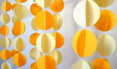 Yellow Paper Garland, 3D Paper Garland, Paper Decoration, Yellow Decoration, Photo prop, Paper Banner, Paper Bunting, Yellow Baby Shower by LilyRazz on Etsy