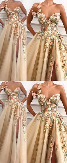 Elegant Dresses, Pretty Dresses, Beautiful Dresses, Lace Long Dresses, Floral Prom Dress Long, Unique Formal Dresses, Awesome Dresses, Flower Dresses, Tulle Prom Dress