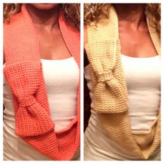 Crochet scarves with bow