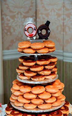 Let them eat...donuts! What a fun wedding cake alternative.