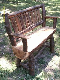 Handmade Rustic & Log Furniture: Oak Log Bench and Coffee Table