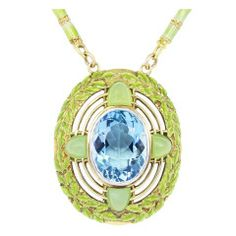 Art Nouveau Tiffany & Co. Enamel Aquamarine Necklace