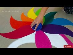 Easy Peacock Rangoli Design For Diwali - The Handmade Crafts Rangoli Designs Peacock, Easy Rangoli Designs Diwali, Indian Rangoli Designs, Rangoli Designs Latest, Small Rangoli Design, Colorful Rangoli Designs, Rangoli Ideas, Rangoli Designs Images, Beautiful Rangoli Designs