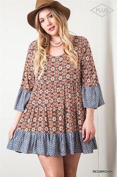 Taryn Bell Sleeve Dress Plus (2 Colors)