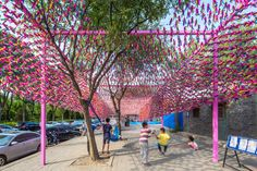 SPARK architects completes jianzi pavilion in beijing with 15,000 featherballs