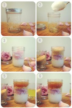 DIY: coconut + rose body scrub    Use a small mason jar or any clear jar with a lid. I got mine at Smart & Final. You can also buy them online if you can't find them in the store. These ones are about 11 for a dozen, so they're under a dollar each!  Start by putting a large scoop of coconut oil in the bottom of the jar. You can get coconut oil