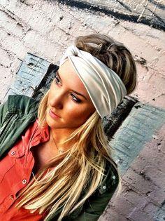 Stretch Jersey Twisted Headband - Black Turban Wide Hippie Boho Headband head bands Hair Coverings (HBT-04). $24.50, via Etsy.