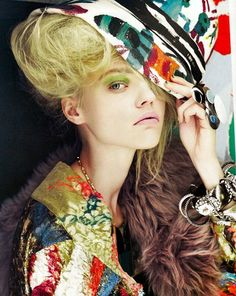 "Sasha Pivovarova in ""Collage Girl"" by Paolo Roversi for Vogue UK August 2008"