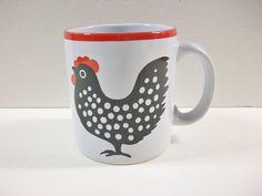 Vintage Chicken Mug, Waechtersbach Coffee Cup, Polka Dot Hen Rooster West Germany Mug