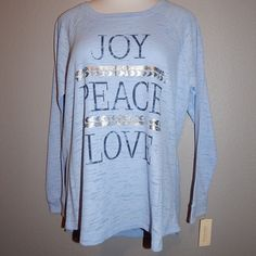 """LADIES' + SIZE BURNOUT THERMAL GRAPHIC SHIRT Super soft, cute top with positive """"JOY - PEACE - LOVE"""" message in navy blue with eye-catching silver accents.  This shirt has a curved hem; is long enough to tuck into bottoms without it popping out, as well as perfect for layering (not too thick, not too thin) Sonoma Tops Tees - Long Sleeve"""