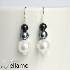 Earrings with Swarovski and freshwater pearls black by byVellamo, $17.00
