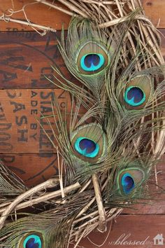 Peacock feathers against salvaged wood.  Gorgeous Fall Mantel | MyBlessedLife.net