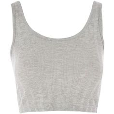 TopShop Ribbed Crop Vest Top (2.670 HUF) ❤ liked on Polyvore featuring tops, crop tops, shirts, tanks, grey marl, grey crop top, grey shirt, layering tank tops, ribbed crop tank and ribbed tank
