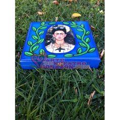 Frida  in Vines Handpainted Wood Cigar Box by Annette Armas. www.ArtedeNuestroCorazon.com