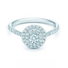 Tiffany Soleste® Round diamond engagement ring. #TiffanyPinterest