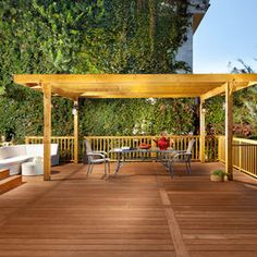 Shade structure over deck