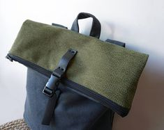Unique minimal bags & more, handcrafted by Loukia by misirlouHandmade Monochrome, Bag Women, Minimalist Bag, Lightweight Backpack, Convertible Backpack, Day Bag, Green Bag, Canvas Leather, Bago