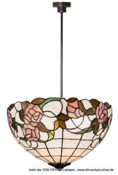 ø 40cm. sehr helle TIFFANY-Pendel-Lampe LUMIERE.    ca.40cm ø, ca. 75 cm hoch, 2 x E-27, je 60 W.  ...aus ausgesuchten Gläsern sind sorgfältig und liebevoll per Hand zusammengefügt.  Für die grösseren Glasteile wurden hier irisierende Gläser verarbeitet, die durch die Lichtbrechung sehr dekorativ alle Farben des Regenbogens anzeigen; z.B. bei der Abbildung des unbeleuchteten TIFFANY-Schirmes deutlich zu erkennen !