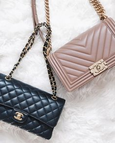 Chanel Classic Flap Coco Bag and Chanel Vintage Boy Bag.