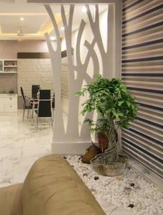 Green and Eco-Friendly Decorating Ideas for the Holidays Wooden Partition Design, Wooden Partitions, Room Partition Designs, Wooden Wall Panels, Room Partitions, Pop False Ceiling Design, Wall Design, Living Room Partition, Partition Walls