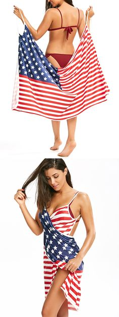 Patriotic Cover Up American Flag Slip Dress