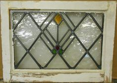 "OLD ENGLISH LEADED STAINED GLASS WINDOW Nice Diamond Lead Design 20.75"" x 15.25"""