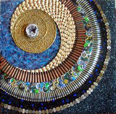 Multi media mosaic kkeys, pencils,  bottlecaps & more!  http://thadenmosaics.com/abstracts
