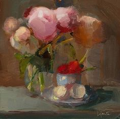 artnet Galleries: Peonies, Strawberries and Eggshells by Christine LaFuente from Somerville Manning Gallery