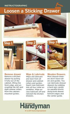 DIY Tutorial: How to Loosen a Sticking Drawer. Learn an easy way to fix drawers that are tough to open and close.