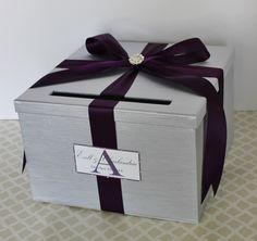 Wedding Card Box Silver Purple Plum Money Holder Customizable by LittleDivine on Etsy https://www.etsy.com/listing/88300237/wedding-card-box-silver-purple-plum