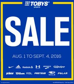 Check out The Toby's Sports SALE!  Top sports items from your favorite sports brands like Nike, Adidas, Wilson, and many more!  Visit Toby's Sports Stores from August 1 to September 4, 2016.  http://mypromo.com.ph/