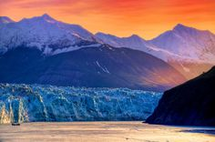 Morning warms the Hubbard Glacier in Alaska.