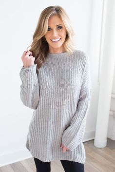 Shop our Ribbed Knit Tunic Sweater in Grey. Pair with skinny jeans and booties for a chic and cozy look. Always free shipping on all US orders.
