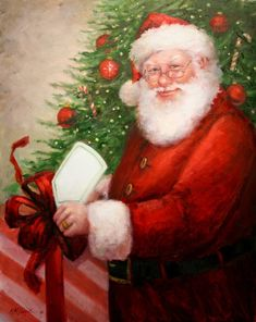 Santa with Present (by Mary Miller Veazie)