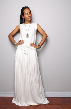 Sleeveless long off white maxi dress with pockets. Handmade off white womens summer holiday dress. I gave this gorgeous casual long off white dress a soft flowing neckline and a long loose beautifully gathered skirt, which wonderfully skims your body and results in a very soft and romantic