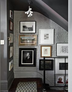 Decorating Crush: Hanging Art in the Stairwell - Satori Design for Living Stair Gallery, Gallery Walls, Art Gallery, Lofts, Grey Paint Colors, Gray Paint, Wall Colors, Gray Color, Colour